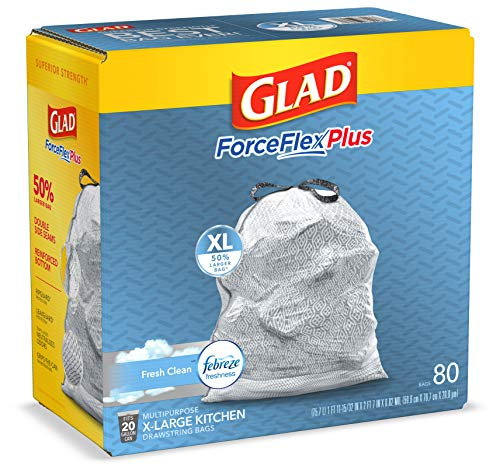 GLAD ForceFlexPlus XL X-Large Kitchen Drawstring Trash Bags - 20 Gallon Grey Trash Bag, Fresh Clean with Febreze Freshness 80 Count (Package May Vary)