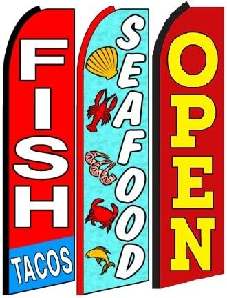 fish tacos seafood Welcome King Swooper Feather Flag Sign Kit With Pole and Ground Spike Pack of 3