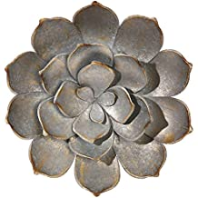 "Raz 18"" Gray and Gold Succulent Distressed Metal Wall Art Decoration"
