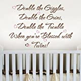 Double the Giggles Double the Grins Vinyl Nursery Wall Quote Twins Wall Decal Inspirational Wall Sticker Wall Letters Wall Grphice Home Art Decor 1(words:Brown;hearts:Soft Pink)