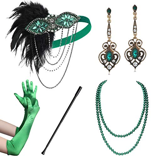 BABEYOND 1920s Flapper Accessories Gatsby Costume Accessories Set 20s Flapper Headband Pearl Necklace Gloves Cigarette Holder (Set-127)]()