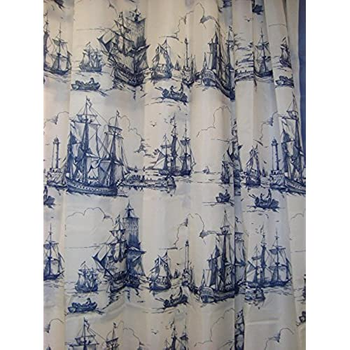 Nautical Curtains Amazoncom - Nautical bathroom window curtains