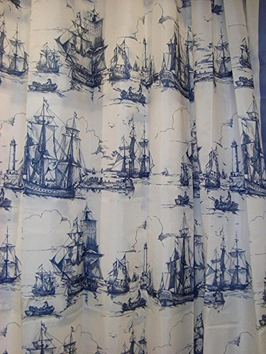 Ikea Nautical Tall Ships Boat Lighthouse Navy White Fabric Shower Curtain 71 X 71 Aggersund (Seashore Shower Curtains)