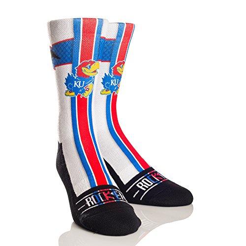 NCAA Kansas Jayhawks Jersey Series University Custom Athletic Crew Socks, Small/Medium, White/Red