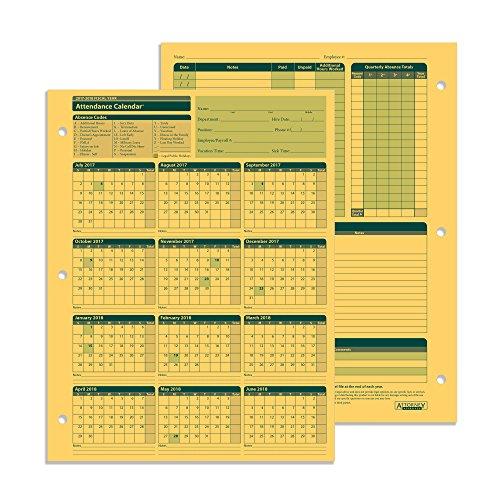 25 Pack Calendar (ComplyRight Fiscal Year Attendance Calendar, 2017-2018, 25 Pack)