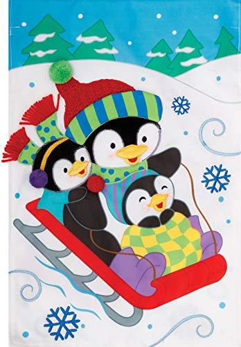 - Custom Decor Penguin Sled - Garden Size, Emboidered Applique Style, Double Sided Decorative Flag - Approx. 12 Inch X 17.98 Inch