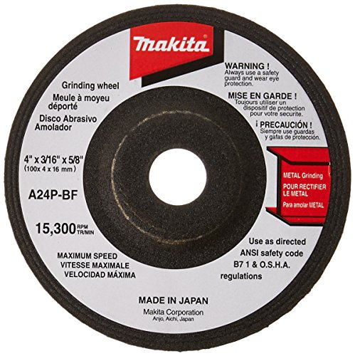 Makita 741402-8 4-Inch x 3/16-Inch 24 Grit General Purpose Metal Depressed Center Wheels - 5 Pack (Discontinued by Manufacturer)