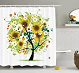 Ambesonne Sunflower Decor Collection, Floral Tree with Daisies Sunflowers Butterflies Ladybugs Swirl Spring Fantasy Image, Polyester Fabric Bathroom Shower Curtain, 84 Inches XLong, Yellow Green Black