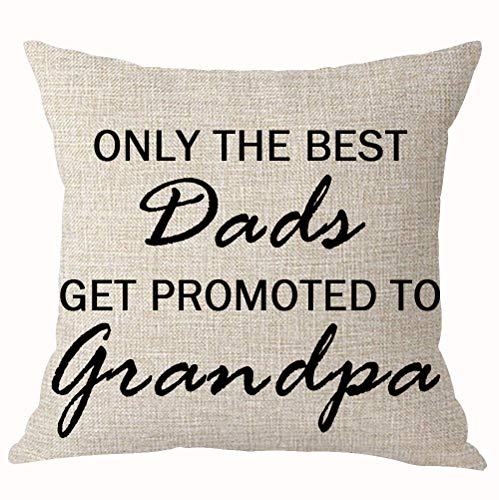 Summerr Only The Best Dads Get Promoted to Grandpa Best Throw Pillow Cover Cushion Case Cotton Linen Home Office Decoration Square 18X18 Inch (B)