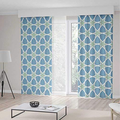 Doors 2 Glazed - C COABALLA Door Curtain TT02 Moroccan for Living Room Mosaic Pattern Repeating Glazed Zellige Art 2 Panel Set 236W x 106LInches
