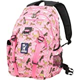 Wildkin Serious Backpack, Durable Backpack with Padded Straps, Exterior Pockets, Moisture-Resistant Lining, and Two Side Pockets, Perfect for School or Travel – Horses in Pink