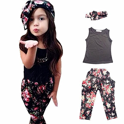 Girls' 3 Pieces Outfit Set Black Tank Top,Flowers Print Leggings,Headband (2T)