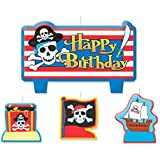 """Party Time Pirates Treasure Molded Mini Character Birthday Candle Set, Pack of 4, Multi , 2.1"""" x 3.5"""" Wax"""