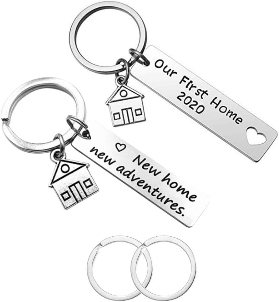 2 Pcs New Home Keychains, CNYMANY Housewarming Gift New House Decoration Jewelry Key Rings for New House Owner Wife Husband Lover