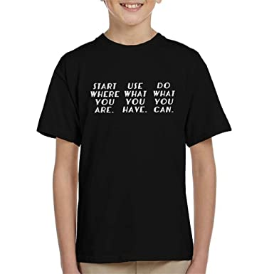 Start Where You Are Arthur Ashe Quote Kids T Shirt Amazoncouk