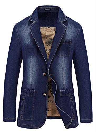 [해외]MOGU 남성용 슬림핏 2 버튼 데님 블레이저 / MOGU Men`s Slim Fit 2 Button Denim Blazer US Size XS 32 Blue