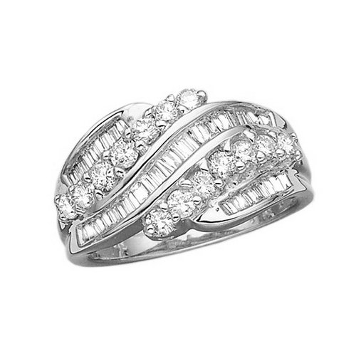 14K-White-Gold-1-ct-Round-and-Baguette-Cut-Diamond-Fashion-Ring