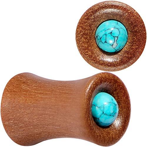 (Body Candy 4G 2PC Organic Sawo Wood Turquoise Stone Saddle Plugs Double Flare Plug Ear Plug Gauges 5mm)