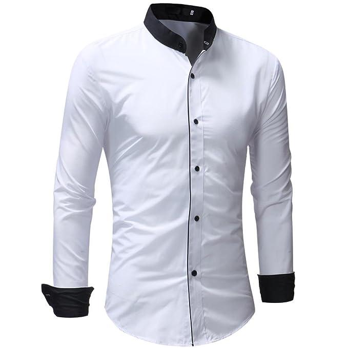 Camisas de Hombre, Jersey Casual de Hombre Patchwork de Manga Larga Camiseta de Bolsillo Tops Blusas: Amazon.es: Ropa y accesorios