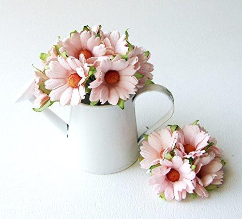 ICRAFY 30 Big Daisy Pink Artificial Mulberry Paper Flower Wedding Scrapbook Wedding