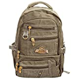 Multi Pockets Canvas Backpack With Water And Dust Proof Rain Cover [CREAM]