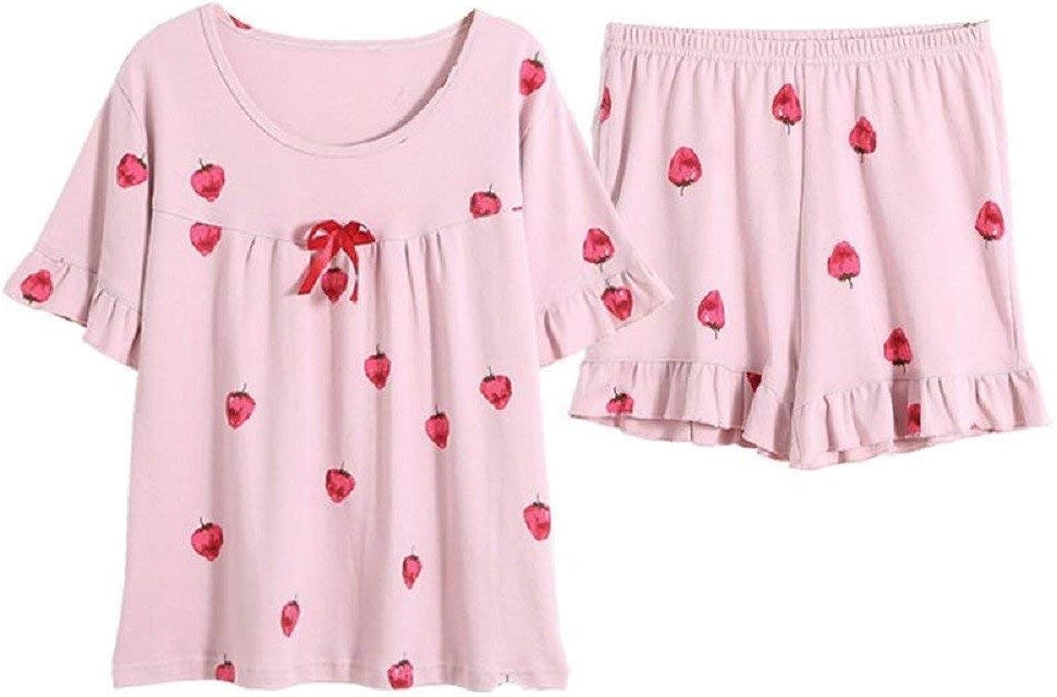 Pijamas Mujer Verano Algodón Manga Corta Y Dulce Encantador ...