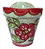 Wall Flower Pot (Red Design) – Hand Painted in Spain For Sale