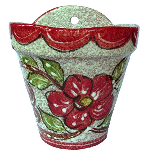 Wall Flower Pot (Red Design) – Hand Painted in Spain
