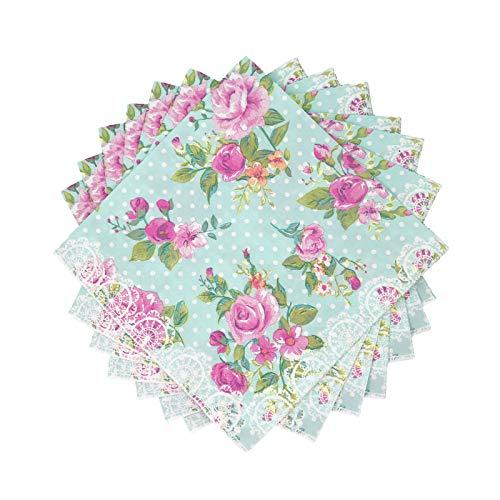 WallyE Paper Napkins for Bridal Shower Tea Party Birthday or Wedding, Vintage Blue Floral, 20 Pack (Victorian Contact Paper)