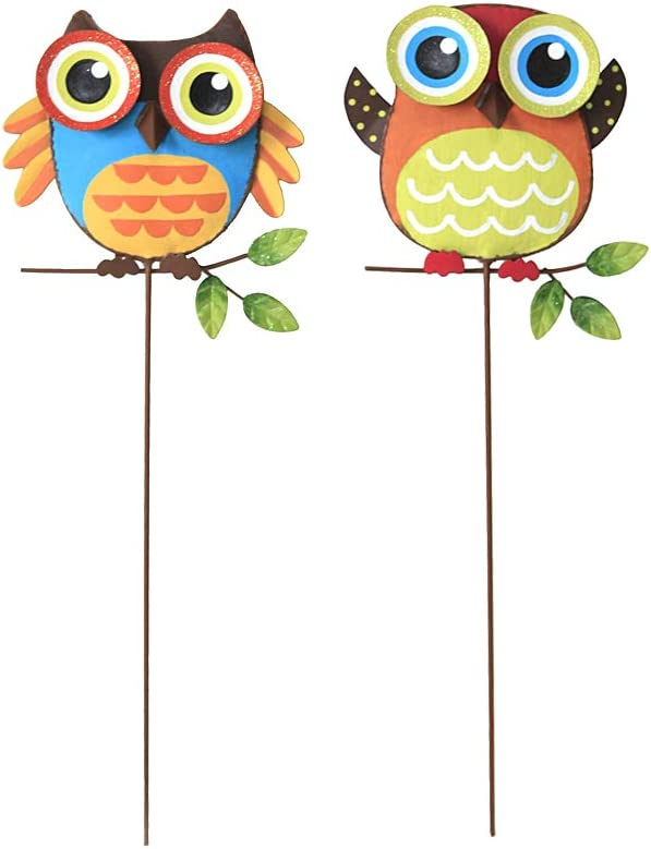 Attraction Design Metal Owl Garden Stake Set of 2, Indoor Outdoor Owl Decor for Patio Lawn Ornament Garden Yard Art Flower Bed Decoration Owl Figurine and Sculpture 16Inch