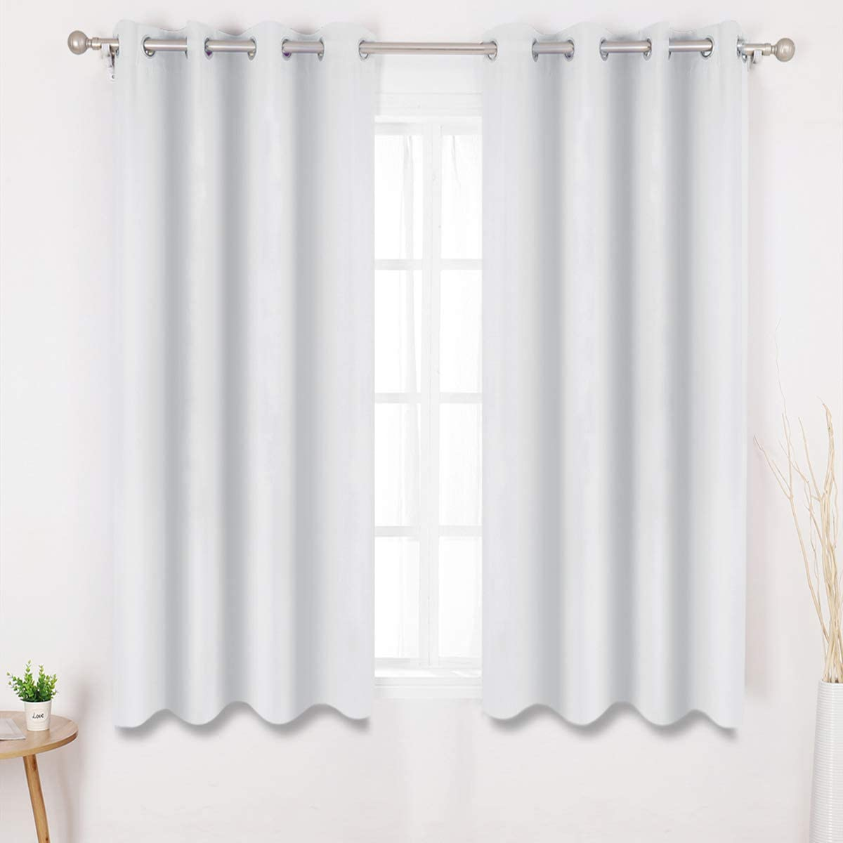 HOMEIDEAS Greyish White Blackout Curtains 52 X 63 Inch Length Set of 2 Panels Room Darkening Bedroom Curtains/Drapes, Thermal Grommet Light Bolcking Window Curtains for Living Room