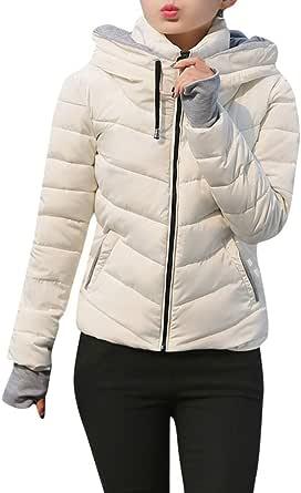 Luckycat Ropa Chaqueta Mujer Sólidas Invierno Talla Grande Slim Plumas Abrigos Largo Caliente Cuello de Pelo con Capucha