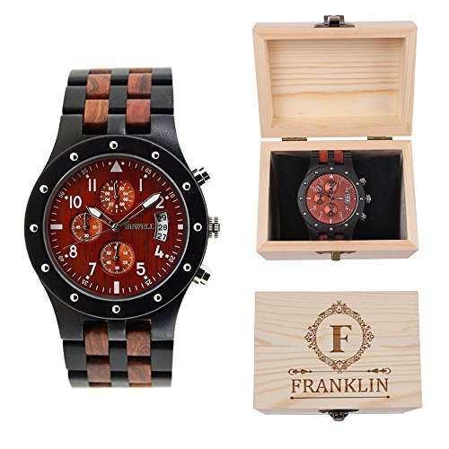 - Sub-dials Wooden Watch Quartz Analog Movement Date Wristwatch with Gift Box for Men Personalized Gifts Anniversary Birthday Fathers Day