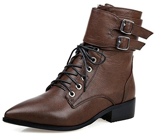 Low Up Buckle Toe Pointed With Brown Womens Unique Lace Zipper Martin Booties Boots Chunky Short Heels IDIFU fITgqww