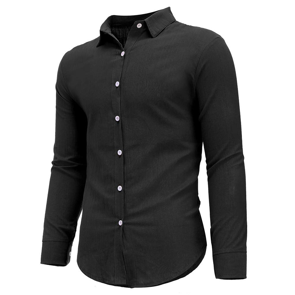 Trule Mens Casual Loose T-Short Long-Sleeved Button-Lapel Top Comfortable Linen Solid Color Shirt