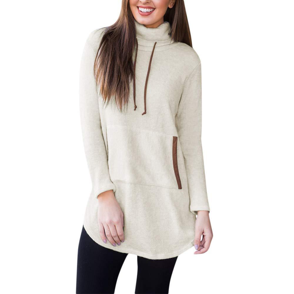 HARRYSTORE Frauen Solid Stand Sweatshirt Langarm Tasche