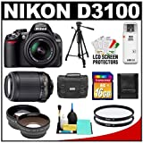 Nikon D3100 Digital SLR Camera & 18-55mm G VR DX AF-S Zoom Lens with 55-2...