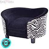 SKEMiDEX---Pet Lounge Sofa Dog Puppy Bed Soft Warm Snuggle Couch Cushion Zebra-stripe. This super-soft pet bed with bolster is designed with comfort in mind The bolster is for your pet to rest