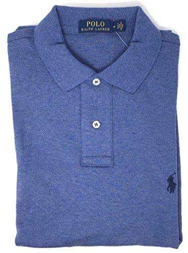 Polo Ralph Lauren Men Medium Fit Interlock Polo Shirt (Lightblue Heather, Large)