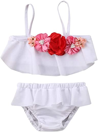 1-5Years,SO-buts Kids Baby Girls Floral Print Vest Tulle Skirt Swimwear Swimsuit Bikini Set Bathing Suit