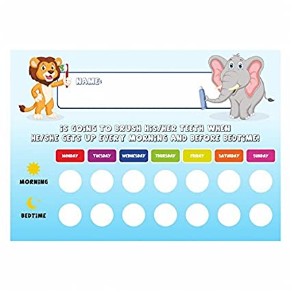 Amazon com tooth brushing schedule reward chart with stickers