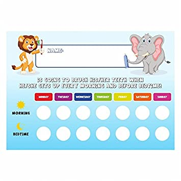 Tooth brushing schedule reward chart with stickers amazon co uk