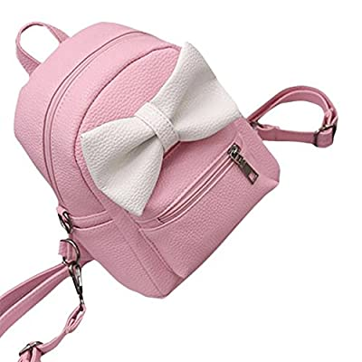 TOOPOOT Cute Bowknot Girls Mini PU Leather Daypack Camping Travel Rucksack (pink)