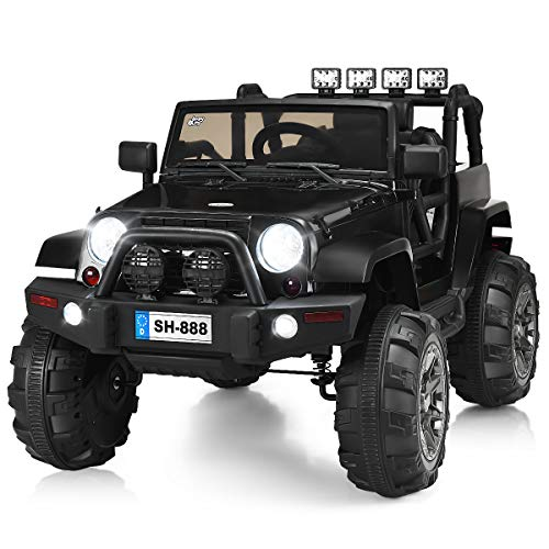 (Costzon Ride On Truck, 12V Battery Powered Electric Ride On Car w/ 2.4 GHZ Bluetooth Parental Remote Control, LED Lights, Double Doors, Safety Belt, Music, MP3 Player, Spring Suspension (Black))