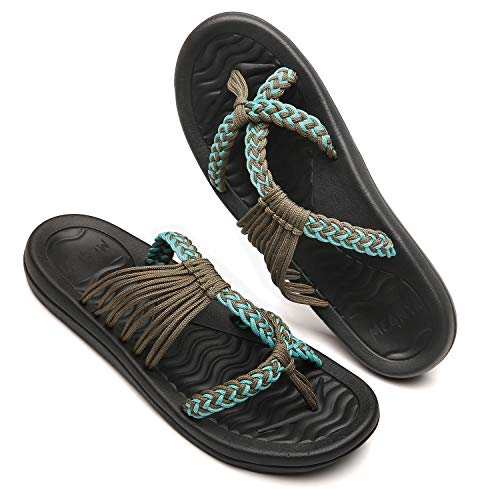 ac672592ec590 QLEYO Women's flip Flops Sandals Arch Support Comfortable Walking Summer  Water Beach Slipper 19ZDQL04-W62-10