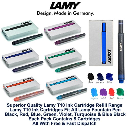 Lamy T10 Assorted Colour Pack Fountain Pen Ink Cartridges Refills Spare Replacement For All Lamy Fountian Pens (1 Pack Of Each Colour - 7 Packs - 35 Cartridges - Black, Red, Washable Blue, Green, Purp by Lamy Cartridges (Image #1)