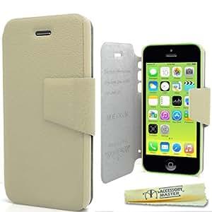 Accessory Master- Blanco Crema Slim Funda Libro de pu Cuero para Apple iPhone 5C