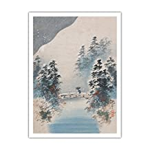 Winter Snow - Vintage Japanese Woodblock Print by Kyokudo c.1900s - Fine Art Print - 44in x 60in