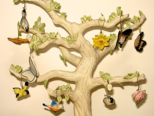 Lenox Spring 10 Miniature Tree Ornaments Set Bird Butterfly Flower NO TREE (Miniature Easter Ornaments)