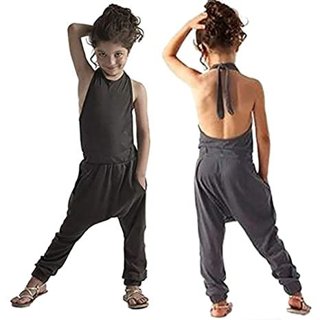 74ed4c972 Gemgeny Baby Grey Blue Summer Cute Jumpsuits for Girls Kids Harem Strap  Romper Jumpsuit Toddler One Piece Pants Trousers Clothes Size 5-6Y:  Amazon.in: Baby